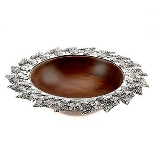 At Home in the Country - Wooden Bowl with Grape Design