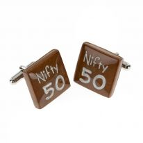Wooden Cufflinks Nifty 50